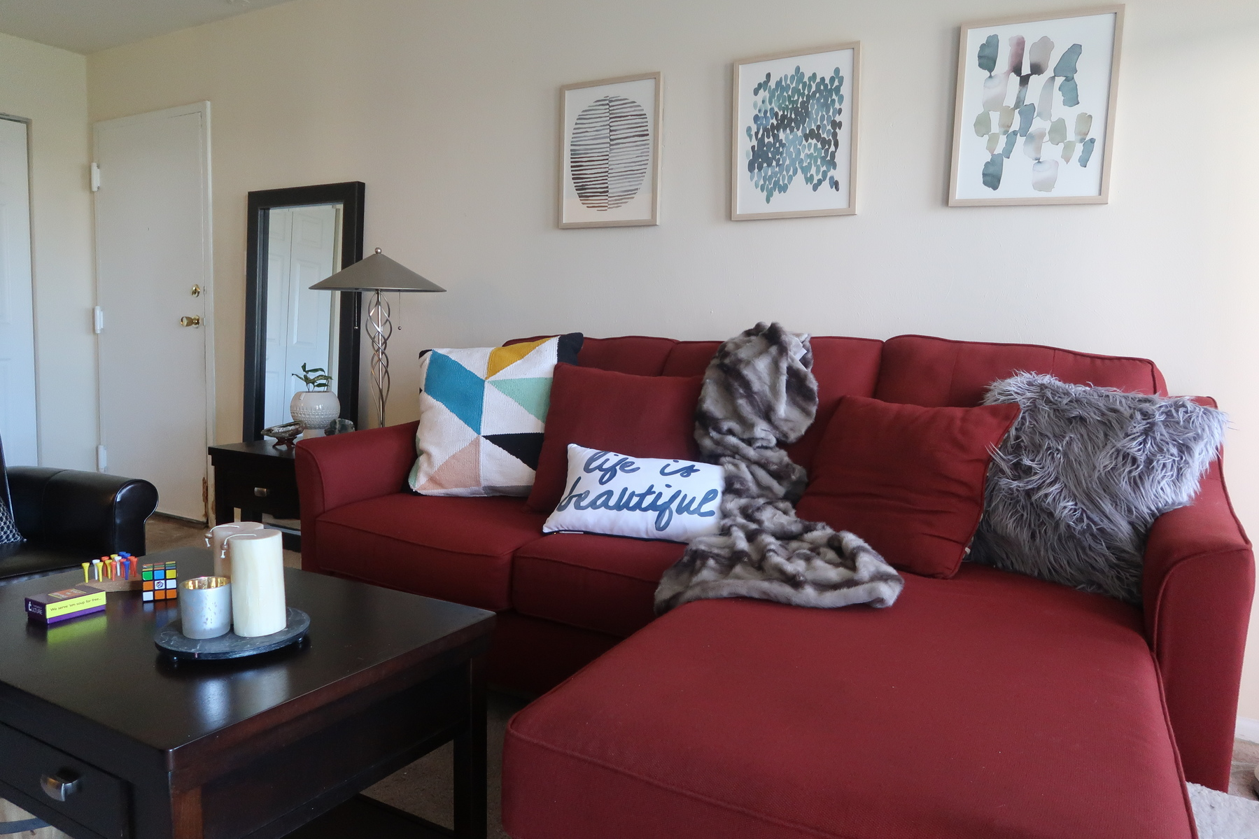 A very good price for this type of folding sofa. 3 Ways to Work Around a Red Sofa When Styling Your Living ...