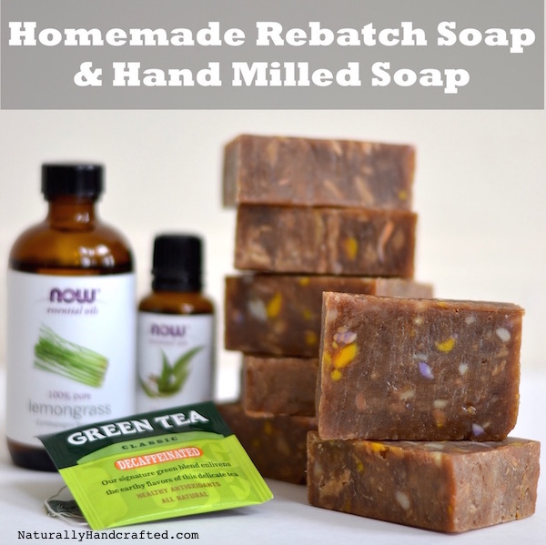 homemade rebatch soap and hand milled soap with green tea essential oil
