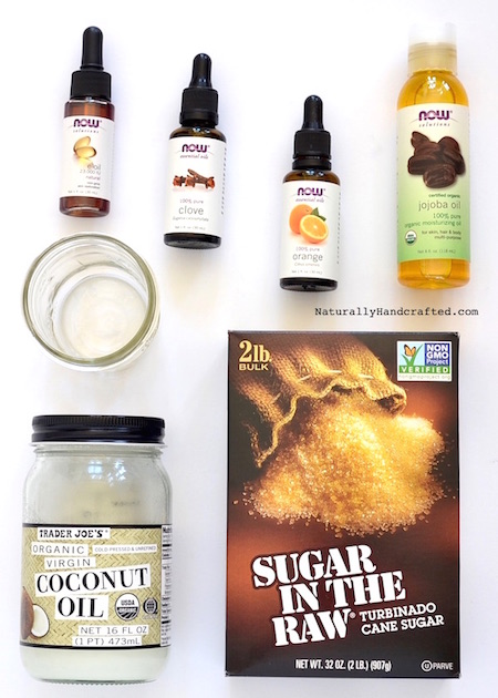 ingredients for homemade DIY sugar scrub