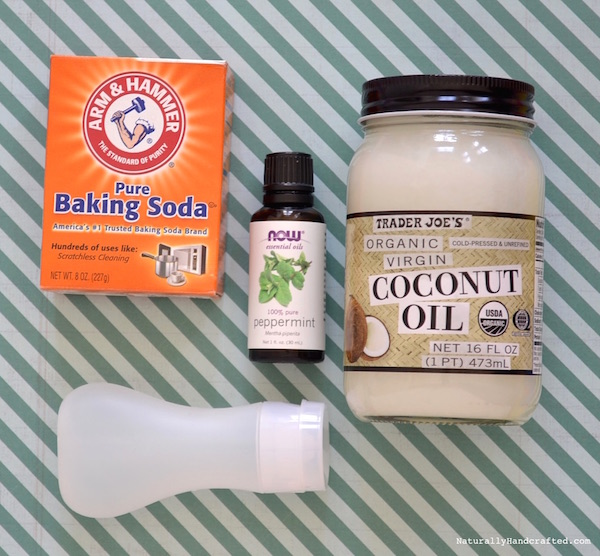 Ingredients and tube for Squeezable Homemade Toothpaste