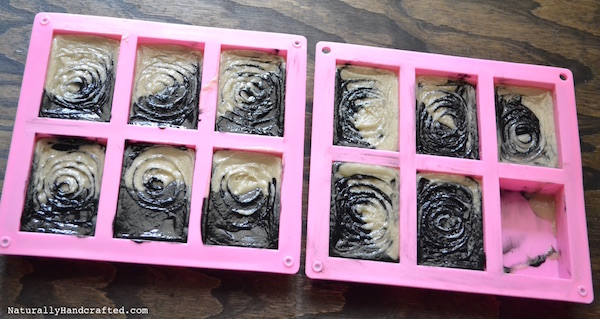 Add Swirls to Activated Charcoal Soap