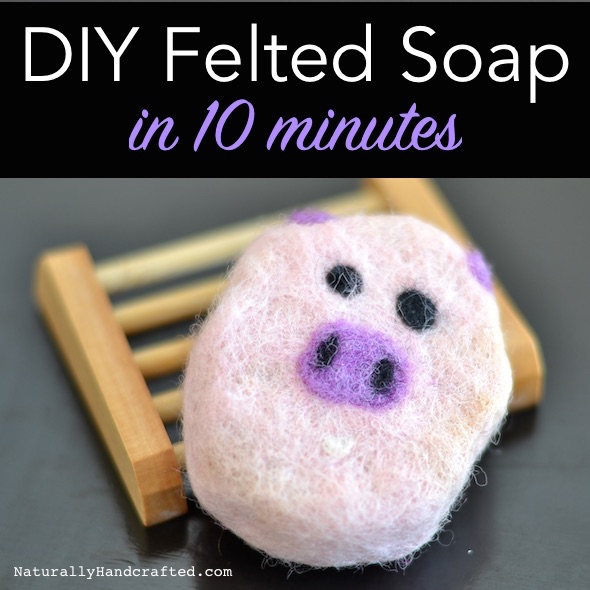 piggy diy felted soap