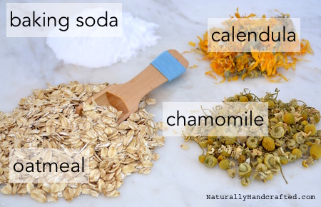 ingredients for DIY colloidal oatmeal bath