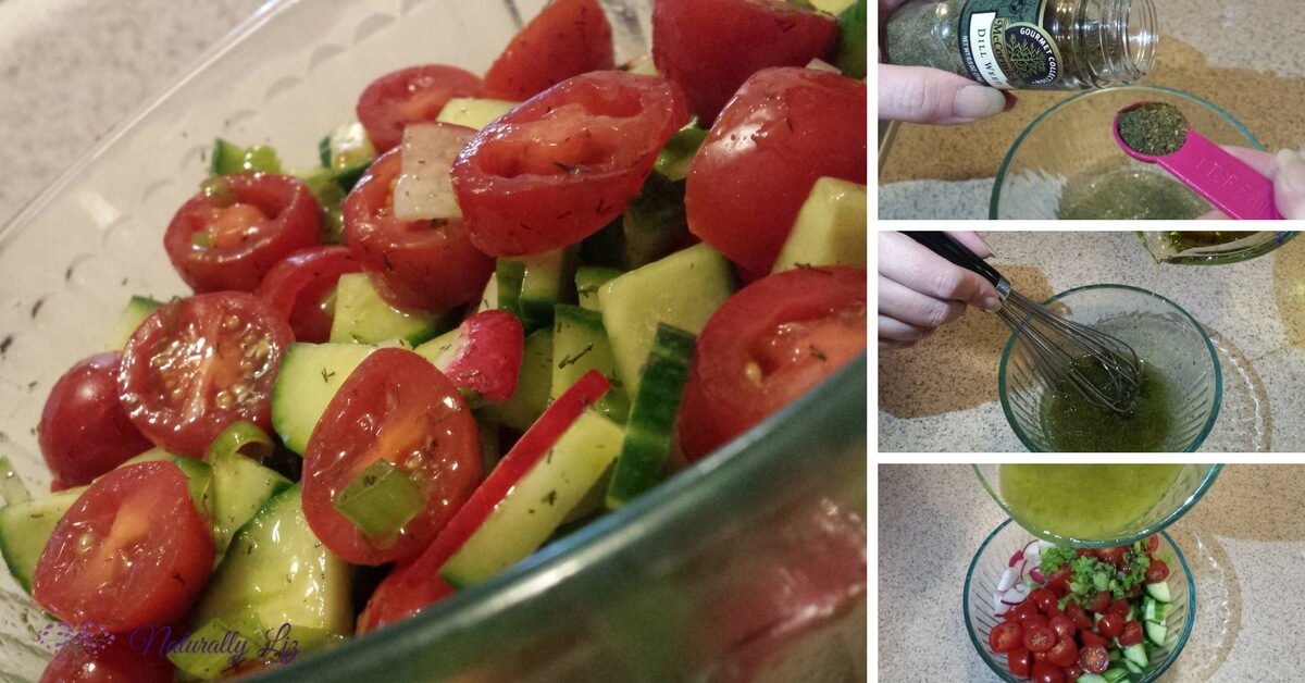 Cucumber, Tomato, and Radish Salad dressing