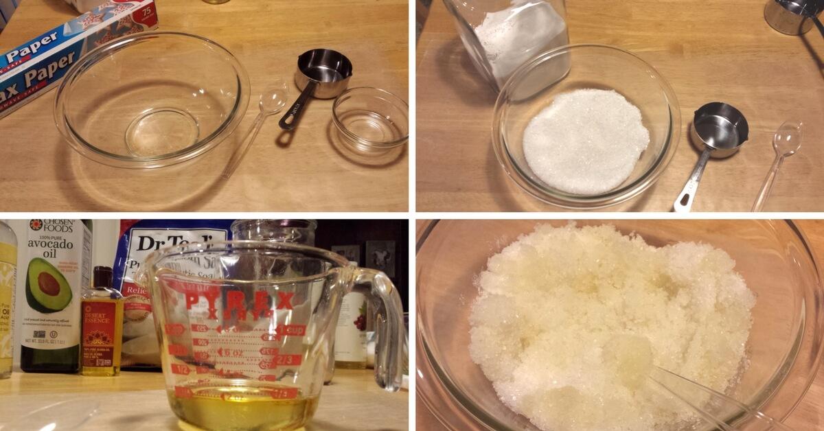 Mixing up Homemade Sugar and Salt Scrub