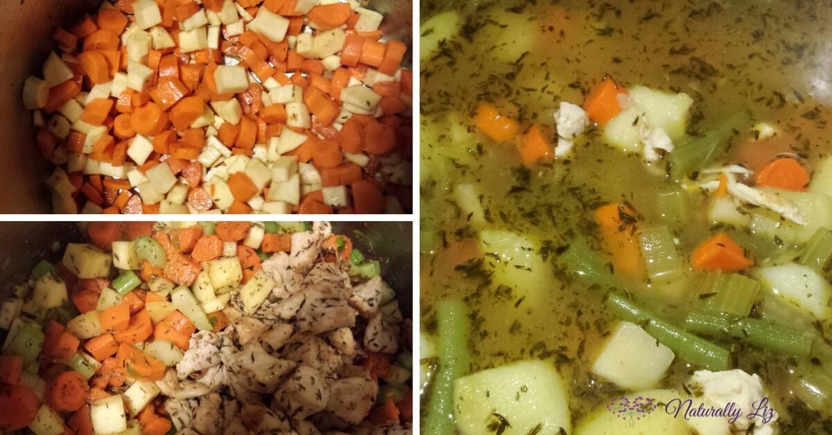 Cooking Low FODMAP Chicken Vegetable Soup-Naturallyliz.com