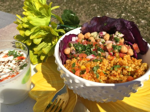 Cracked Wheat Bowl with Cilantro Vinaigrette and Chickpeas Salad