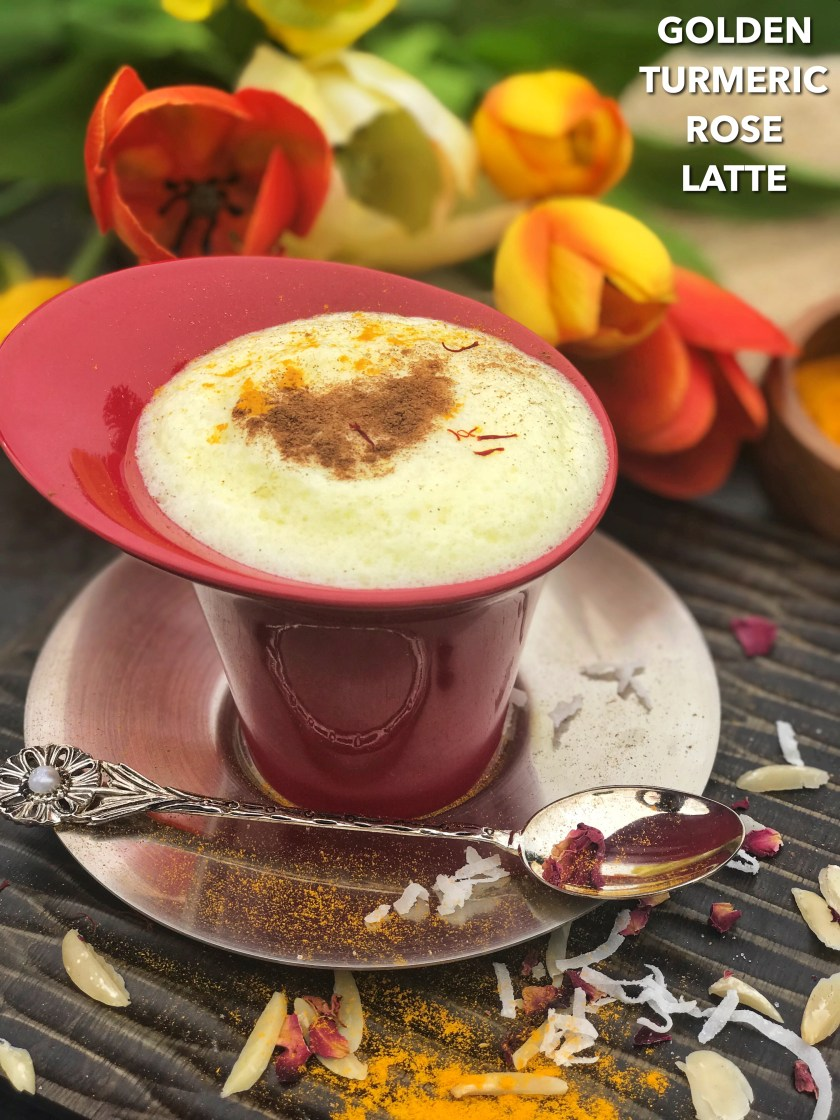 As the chilly weather and mellow air of fall rolls around, who can resist a nice, warm cup of coffee in the morning? The NEXT BIG THING is here - a GOLDEN TURMERIC ROSE LATTE! Brewed in milk; crushed almonds, turmeric powder, ginger powder, black pepper, cardamom powder, rose water, saffron, and cinnamon, make up this luxuriously light drink! Perfect for the crisp autumn mornings where coffee needs a break, this golden latte is a yummier, healthier, and happier option!