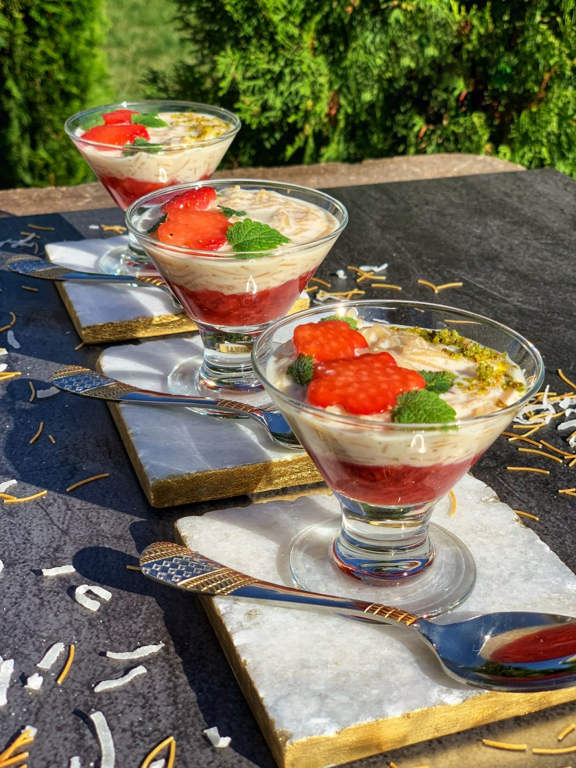 This lusciously smooth, silky and elegant Strawberry Vermicelli Kheer Pudding is an easy-to-make dessert, the perfect way to end a meal. Flavored with cardamom and layered on top of some homemade strawberry compote, this gorgeous dessert made in Instant Pot has the perfect balance of sour and sweet!