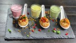 Rainbow Dahi Shots - a festive twist on the classic Indian street and comfort food, this version of panipuri, drenched with yogurt based pani and stuffed with tangy masala is the perfect blend between colors and flavors!