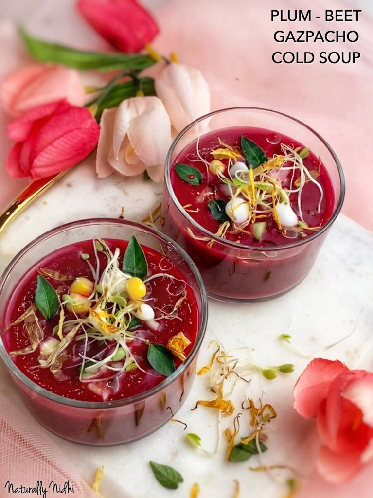 Packed with fresh, juicy fruits and vegetables, this Plum Beet Gazpacho Cold Soup is bursting with summery flavor in every bite; where plum, beets, avocado, honey and mint are blended into one tasty drink! Traditionally from the Andalusia region of southern Spain, this gazpacho, puts a fun twist on the classic tomato cold soup. Try it for appetizers or tapas, as the Spanish would, and enjoy the vibrant flavors during the heat of summer!