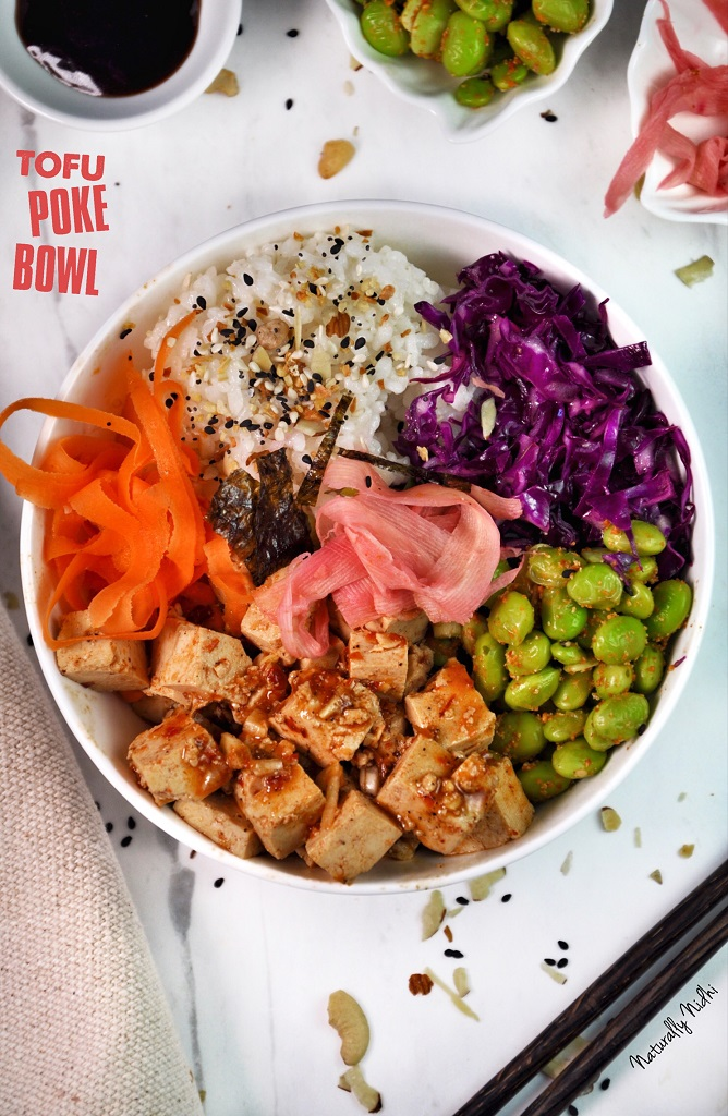 With sesame-ginger tofu, spicy edamame, and pickled ginger, this Tofu Poke Bowl is a total game changer! Requiring no cooking whatsoever, taste the tropical flavors of Hawaii with this super simple recipe!