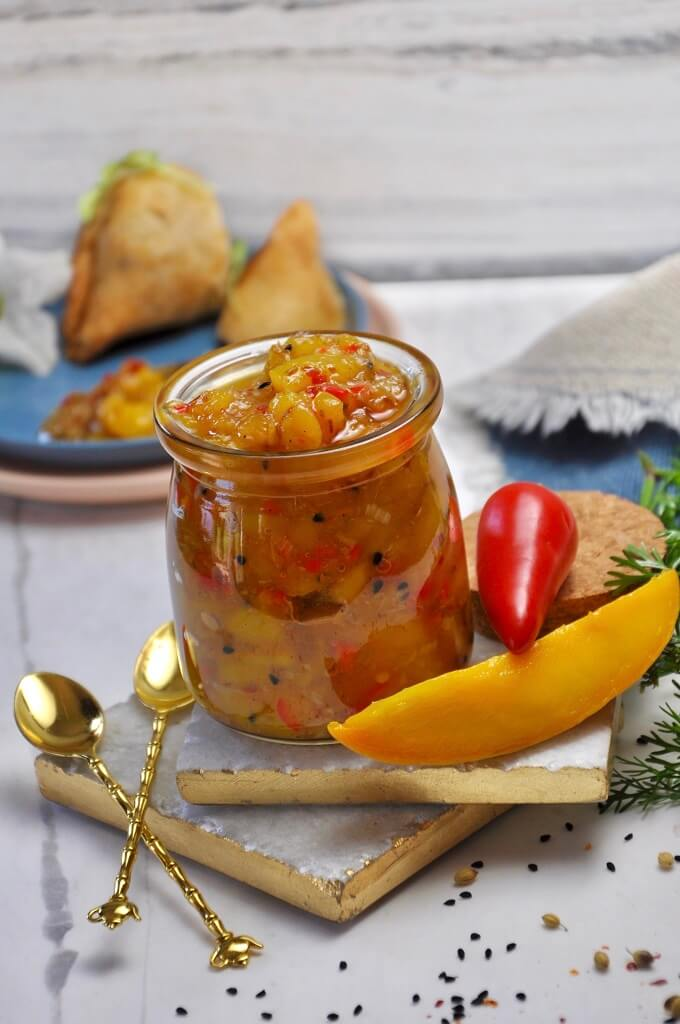 Spicy, sweet, and tangy, this Mango Chili Chutney is the perfect way to add a burst flavor to any dish. Try this super simple chutney jam with parathas, samosas, or cutlets and add a dash of color into your life.