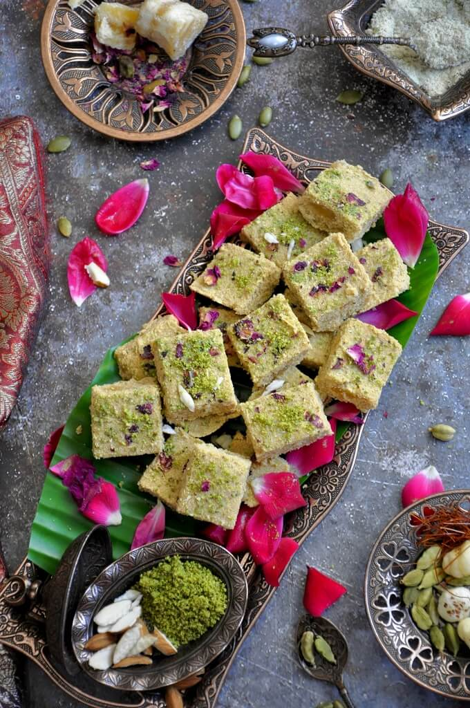 Rajgira Badam Sukhdi (Amaranth Almond Fudge) is healthy Gujarati dessert with nutty and aromatic notes from pistachio, almond, and saffron. With no grains, it's perfect for the Indian Navaratri festival and those that are fasting!