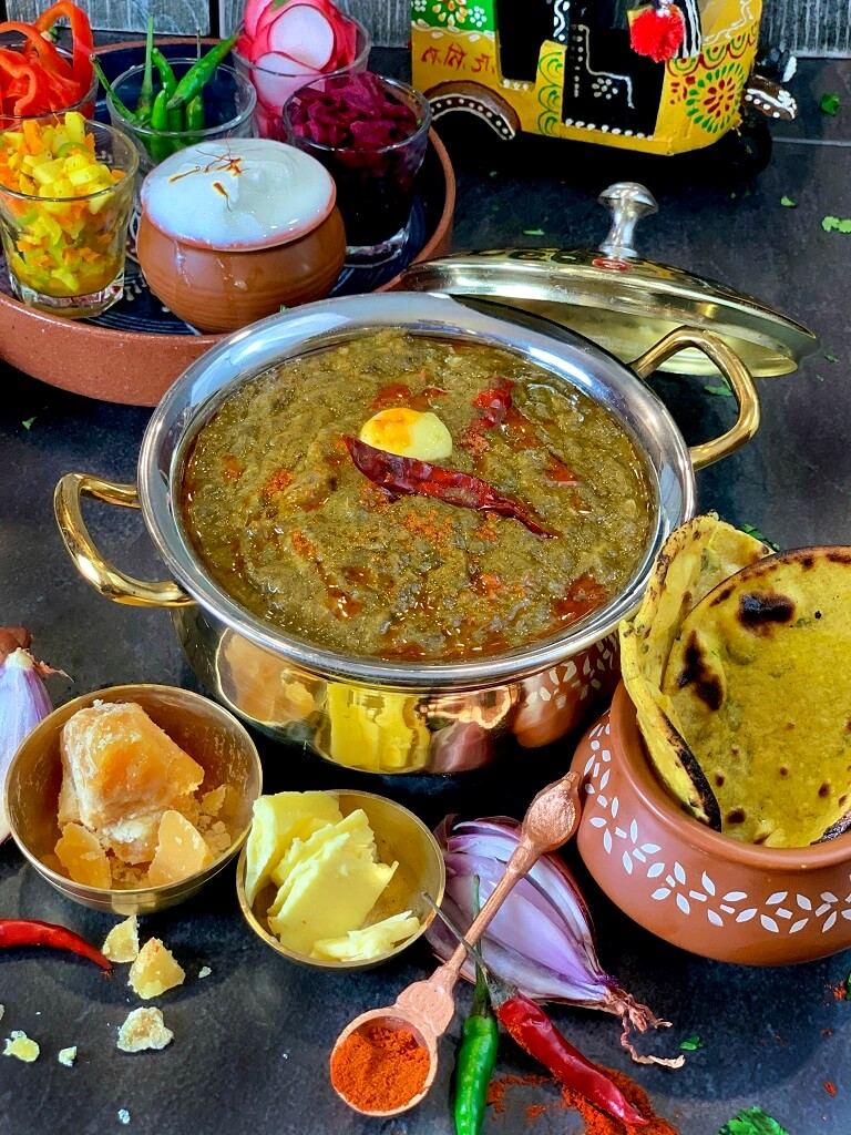 Sarson ka Saag is a popular Punjabi dish made with mustard greens and tempered with ghee and red chili! Perfect served with makki ki roti and some pickled onions, it's a magical treat to enjoy as the weather gets chilly! Use your Instant Pot to whip us this delightful treat and enjoy its velvety texture.