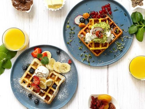 Eggless Herb and Cheese Waffles