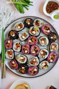 Vegan Spicy Tofu And Veggie Sushi Rolls