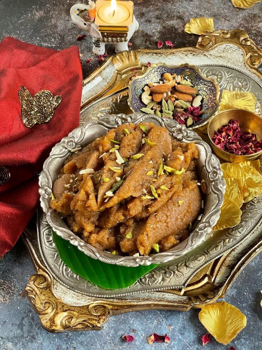 Quick Atta Badam Halwa - Wheat Almond Halwa