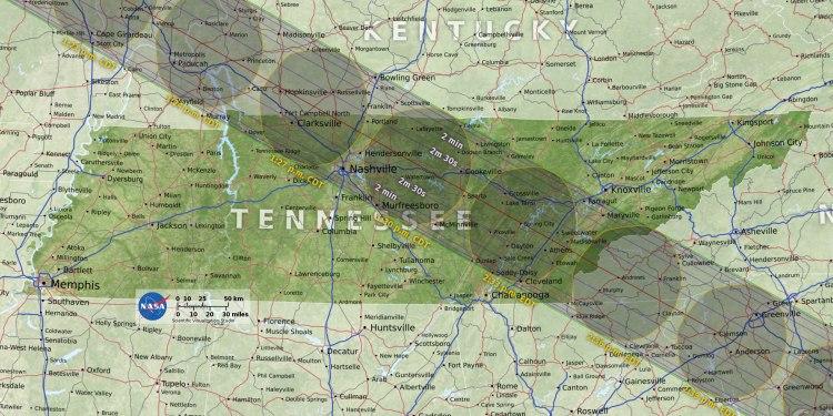 Nasa Tennessee Solar Eclipse Map | Naturally Stellar