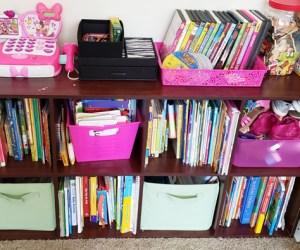 bookshelf completely organized