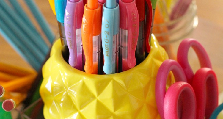 Close up of school supply centerpieces made from a Target brand beauty organizer | Naturally Stellar