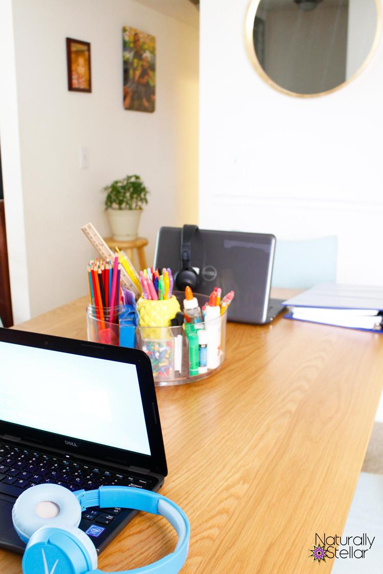 Virtual school setup in a dining room | Naturally Stellar