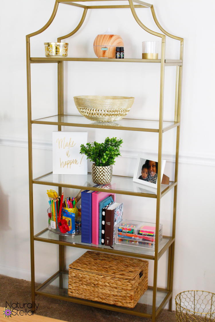 Gold and glass etagere shelf from Wayfair | Shared home office tips | Naturally Stellar