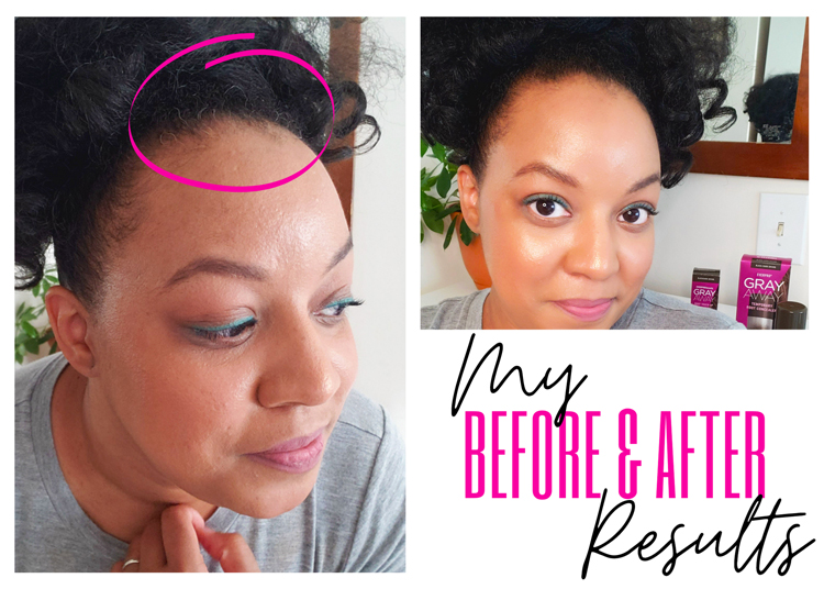 Before and after using Gray Away root concealer products on type 4 natural hair | Naturally Stellar