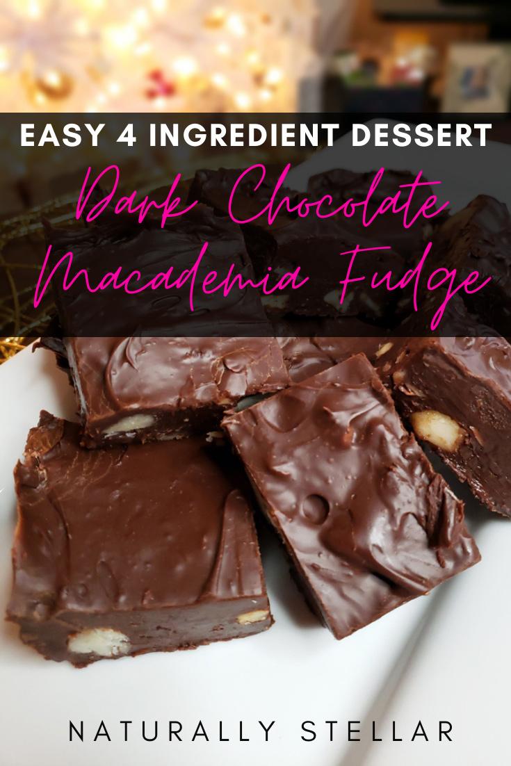 Super Easy Dark Chocolate Macadamia Nut Fudge