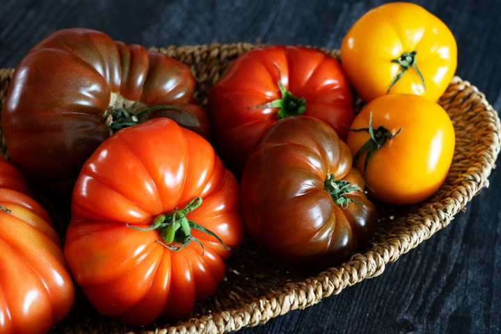 Heirloom tomatoes, an example of nightshade vegetables, displayed in a basket.