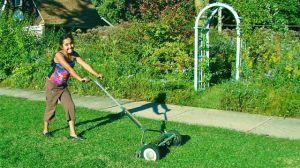 Lora mowing lawn