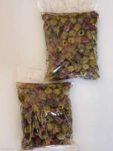 """Натуральні оливки Асорті 2х без кісточки у маринаді """"Корінф"""". В оливковій олії, винному оцті, розсолі та грецькі спеції , с.в 450г калибр Jumbo 181-200"""