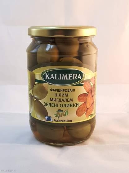 KALIMERA Колоссаль 121-140 Зелені оливки фаршировані цілим мигдалем 720 мл 420г.св