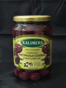 Чорні натуральні оливки Гігант 141-160, з кісточкою у розсолі з морською сіллю, 720 мл 420г.св