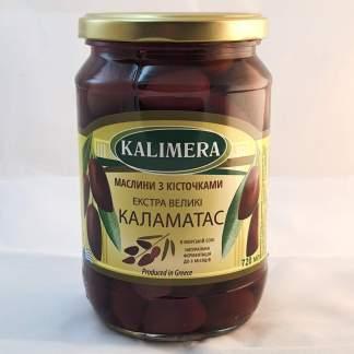 Маслины Каламатас з кісточкою Колоссаль 121-140, 720 мл 420г.св