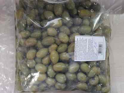 Халкидикис Зелені оливки з кісточкою морській солі ПЕТ-пакетик 3кг калибр Colossal 121-140 73275