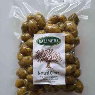 Грецькі салатні трави на Дамаскино Зелені оливки з кісточкою Пет пакет 560г калибр Ex Jumbo 161-180