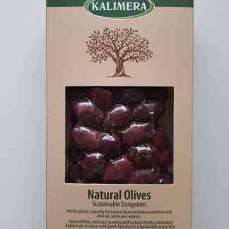 Грецькі салатні трави на Маслини Каламатас Colossal 121-140 з кісточкою 250г Вакуумний пакет у картонній коробці