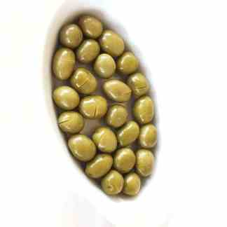 Надрізані Зелені оливки з кісточкою в морській солі 3л ПЭТ-банка 1.9кг с.в. Jumbo 181-200