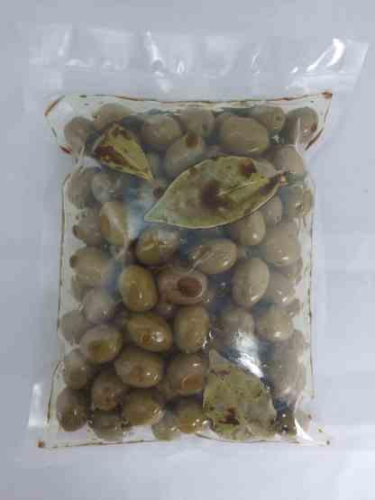 Зелені оливки Амфисис PDO у бальзамічному оцті, оливковій олії та лавровому листі, з кісточкою, 250г в.суха, Вакуумний пакет у картонній коробці