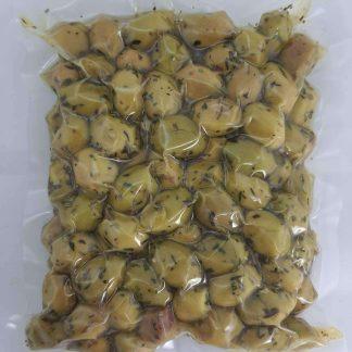 Грецькі салатні трави на Тріснуті Зелені оливки Мегаритикес Пет пакет 560г калибр калибр 201-230 Extra Large