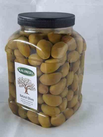 Дамаскино Зелені оливки з кісточкою в морській солі 3л ПЭТ-банка 1.9кг с.в. калибр Ex Jumbo 161-180