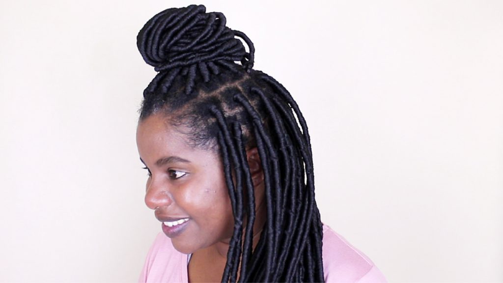 Brazilian Wool Faux Locks on natural hair