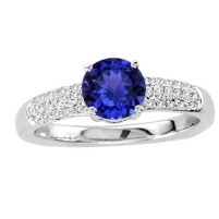 White Gold Round Tanzanite Ring With Diamonds