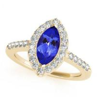 Yellow Gold Marquise Tanzanite Ring With Diamonds