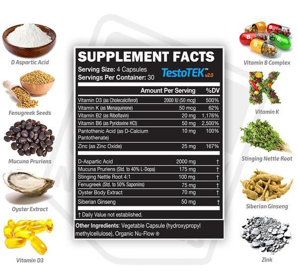 Testotek T- Booster ingredients