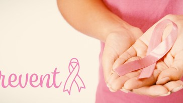 Prevent breast cancer awareness ribbon against woman d