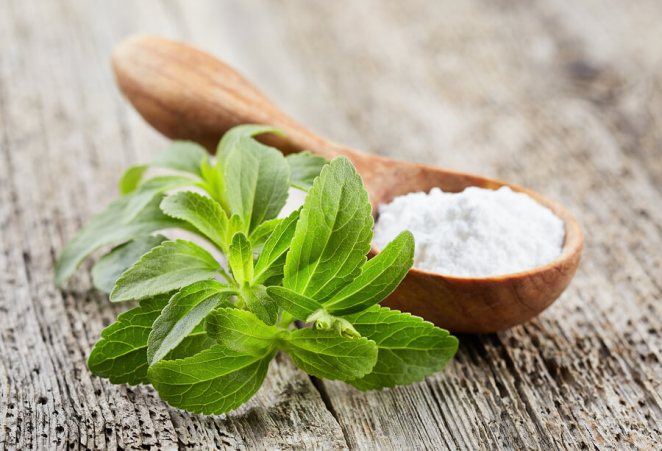 Stevia plant with powder on wooden board