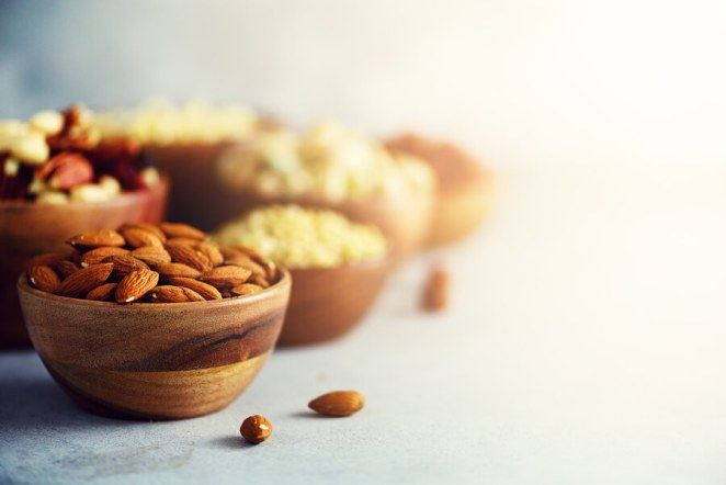 Nuts almonds bowls