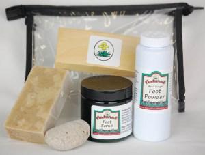 natural, foot care, kit, foot scrub, exfoliating, anti-fungal, foot powder, pumice stone, anti-bacterial, yucca soap, www.naturalyuccaproducts.com,